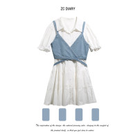 Dress Summer 2021 white S,M,L Mid length dress Two piece set Short sleeve street Polo collar High waist Solid color Single breasted A-line skirt puff sleeve Others Type A Button, stitching, thread decoration 31% (inclusive) - 50% (inclusive) other