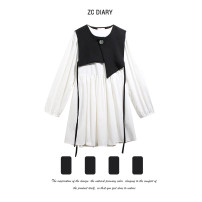 Dress Summer 2021 White two piece set S, M Mid length dress Two piece set Long sleeves street Crew neck High waist Solid color A-line skirt puff sleeve Others 18-24 years old Type A Button, stitching, thread decoration 31% (inclusive) - 50% (inclusive) other