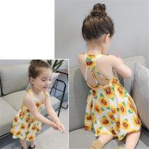 Dress White Sunflower - suspender skirt Wang Yumeng's little sister female Cotton 98% other 2% summer Korean version Skirt / vest Broken flowers cotton