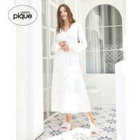 Nightdress gelato pique Gray white blue F Long sleeves longuette Solid color V-neck Polyester (polyester) Chiffon PWCO211264 Spring 2021 Other 100% Same model in shopping mall (sold online and offline)