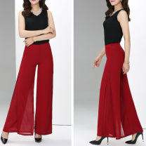 Casual pants Black, blue, green, red, white, crimson 26 size 1'9 waist, 27 size 2'1 waist, 28 size 2'1 waist, 29 size 2'2 waist, 30 size 2'3 waist, 31 size 2'4 waist, 32 size 2'5 waist, 33 size 2'6 waist, 34 size 2'7 waist Summer of 2019 trousers Wide leg pants High waist commute Thin money Shi