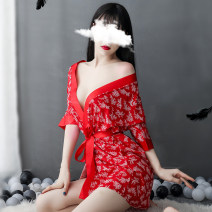 Pajamas / housewear set female Pinxian Polyester (polyester) Nine point sleeve sexy pajamas spring Thin money V-neck other double-breasted youth 2 pieces More than 95% Chiffon printing 200g and below Short skirt