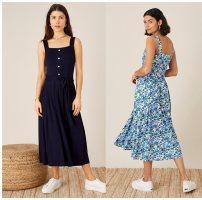 Dress Summer 2021 Dark blue flowers, Tibetan blue M,L,XL,XXL knitting cotton