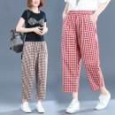 Casual pants Black and white, red and white, Cabernet M,L,XL,2XL Autumn 2020 Ninth pants Haren pants High waist commute routine 51% (inclusive) - 70% (inclusive) literature pocket cotton