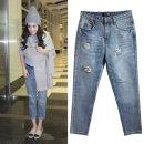 Jeans Summer 2021 wathet 26,27,28,29,30,31 Ninth pants High waist Haren pants routine 18-24 years old Cotton denim light colour 71% (inclusive) - 80% (inclusive)