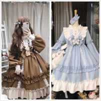 Dress Winter of 2019 Coffee color (single piece without accessories), baby blue (single piece without accessories), coffee color (+ bow bear), baby blue (+ bow bear), tea party girl sky blue, tea party girl chestnut, the same violent skirt Average size