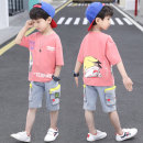 suit Other / other Pink , wathet , white 110cm,120cm,130cm,140cm,150cm,160cm,170cm male summer leisure time Short sleeve + pants 2 pieces routine There are models in the real shooting Socket nothing Cartoon characters cotton children Shopping Class B Cotton 95% polyurethane elastic fiber (spandex) 5%