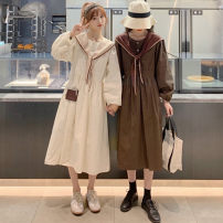 Lace / Chiffon Autumn 2020 White, brown, blue Average size Long sleeves commute singleton  Crew neck Solid color puff sleeve 18-24 years old Button Korean version 30% and below