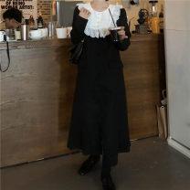 Windbreaker Winter 2020 Average size black Long sleeves Medium length commute Single breasted Doll Collar routine Korean version 81% (inclusive) - 90% (inclusive) polyester fiber