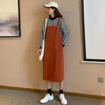 Dress Spring 2021 Off white, light blue, brick red S,M,L,XL longuette singleton  Long sleeves Sweet Crew neck High waist Solid color double-breasted A-line skirt routine straps 18-24 years old Type H straps 71% (inclusive) - 80% (inclusive) Denim cotton college