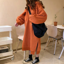 Sweater / sweater Winter 2020 Orange, black Average size Long sleeves have more cash than can be accounted for Socket singleton  Plush Hood easy commute Bat sleeve Solid color 18-24 years old 31% (inclusive) - 50% (inclusive) Korean version cotton Intradermal bile duct