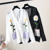 Wool knitwear Spring 2020 S,M,L White, black Long sleeves singleton  Cardigan other 31% (inclusive) - 50% (inclusive) Regular Thin money commute easy V-neck raglan sleeve Plants and flowers Single breasted 18-24 years old Pocket, cut out, stitched