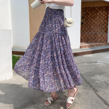 skirt Summer 2020 Average size Blue, black, pink Mid length dress commute High waist Splicing style Decor Type A 18-24 years old Chiffon Korean version