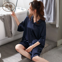 Nightdress Jinglipa / Jinli D -- 50210 royal blue XXXL 160(M) 165(L) 170(XL) 175(XXL) Simplicity three quarter sleeve Leisure home Middle-skirt summer Solid color youth Small lapel Polyester (polyester) 81% (inclusive) - 95% (inclusive) Iced silk D -- 50210 royal blue 200g and below Summer 2020