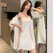 Pajamas / housewear set female Other / other 160(M),165(L),170(XL) Iced silk camisole sexy pajamas summer Thin money One word collar Solid color youth 2 pieces silk Embroidery XC213151 Short skirt