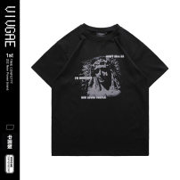 T-shirt Youth fashion black routine S,XL,L,M,XXL VIVGAE Short sleeve Crew neck easy Other leisure summer teenagers routine American leisure other 2021 other printing Cotton ammonia