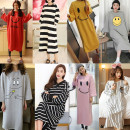 Pajamas / housewear set female Other / other M,L,XL,XXL Grey, army green, dark grey, pink, lotus root, sky blue, bright yellow, dark blue, silver, rose red, light grey, watermelon red, blue, army grey, elegant grey, titanium grey, deep rose red, long sleeve nightdress V-neck Polyester (polyester)