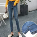 Women's large Winter, summer and autumn of 2019 blue Large XL, large XXL, large XXL, large XXXXL, large L, M Jeans singleton  commute Self cultivation moderate Solid color Korean version Denim, cotton Three dimensional cutting Big girl 18-24 years old pocket 81% (inclusive) - 90% (inclusive) tassels