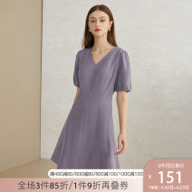 Dress Summer 2020 violet XS S M L XL Middle-skirt singleton  Short sleeve commute V-neck High waist Solid color Socket A-line skirt puff sleeve 25-29 years old Type A Van schlan Korean version Z201442 81% (inclusive) - 90% (inclusive) other Lyocell 89% flax 11% Pure e-commerce (online only)