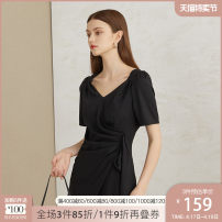 Dress Summer 2020 black XS S M L XL Middle-skirt singleton  Short sleeve commute V-neck High waist Solid color Socket Irregular skirt puff sleeve Others 25-29 years old Van schlan Korean version Three dimensional decorative asymmetry of pleated stitching Z201080 More than 95% other polyester fiber