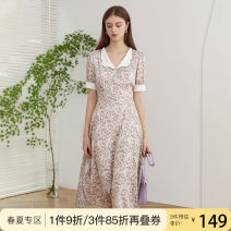 Dress Summer 2020 Pink flower with black background and purple flower with apricot background XS S M L XL Mid length dress singleton  Short sleeve commute V-neck High waist Decor other other puff sleeve Others 25-29 years old Van schlan Korean version Z201299 More than 95% Chiffon polyester fiber