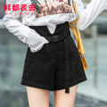 Jeans Summer of 2019 black S M L shorts High waist Straight pants routine 18-24 years old Wash button multiple pockets Dark color Hstyle / handu clothing house 51% (inclusive) - 70% (inclusive) Pure e-commerce (online only)