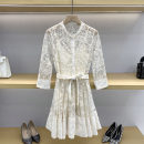 Dress Summer 2021 Off white 1 / s, 2 / m, 3 / L Short skirt singleton  Long sleeves Sweet Crew neck High waist Big flower zipper Big swing shirt sleeve Others 25-29 years old Type A Bowknot, embroidery, lace, button, lace GD9943 More than 95% Lace nylon