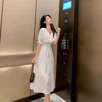 Dress Summer 2021 white S,M,L,XL Mid length dress singleton  Short sleeve commute V-neck High waist Solid color Socket A-line skirt other Others 25-29 years old Type A Korean version Button Chiffon polyester fiber