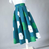 skirt Spring 2020 S. M, l, XL, 2XL, customizable green Mid length dress grace High waist Umbrella skirt Type A Ziweiyi