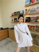 shirt White, dark leather vest and peanut skirt S,M,L Spring 2021 polyester fiber 31% (inclusive) - 50% (inclusive) Long sleeves Versatile Medium length Double collar Single row multi button routine Solid color 18-24 years old High waist type An Xin original 2051# Button polyester cotton