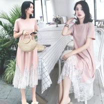 Dress Other / other Sky blue, pink M,L,XL,XXL Korean version Short sleeve have more cash than can be accounted for summer Crew neck Solid color cotton 8876#