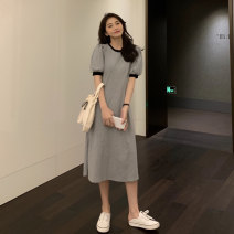 Dress Summer 2021 Gray, black Average size Mid length dress singleton  Short sleeve commute Crew neck High waist A-line skirt routine 18-24 years old Type A Korean version 9174F 30% and below cotton