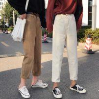 Jeans Autumn 2020 Khaki, beige, camel, black S,M,L,XL Ninth pants High waist Straight pants routine 18-24 years old washing Cotton denim 677H 71% (inclusive) - 80% (inclusive)