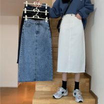 skirt Summer 2021 S,M,L,XL White, blue, black, blue gray Mid length dress commute High waist A-line skirt Solid color 18-24 years old 3573H 71% (inclusive) - 80% (inclusive) polyester fiber Korean version