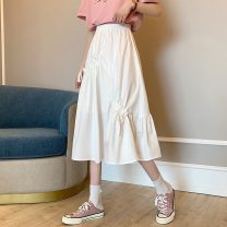skirt Spring 2021 Average size White, black Mid length dress commute High waist A-line skirt Solid color Type A 18-24 years old 8310X 71% (inclusive) - 80% (inclusive) polyester fiber Pleating Korean version