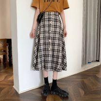 skirt Spring 2021 Average size Black, pink Mid length dress commute High waist A-line skirt lattice Type A 18-24 years old 31% (inclusive) - 50% (inclusive) polyester fiber Korean version