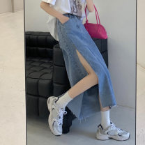 skirt Summer 2021 S,M,L,XL blue Mid length dress commute High waist A-line skirt Solid color Type A 18-24 years old 5333H 71% (inclusive) - 80% (inclusive) polyester fiber Korean version