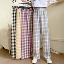 Casual pants Average size Summer 2021 trousers Wide leg pants High waist commute routine 18-24 years old 51% (inclusive) - 70% (inclusive) Korean version cotton Asymmetry