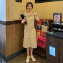 Fashion suit Summer 2021 Average size Apricot strap skirt, dark green strap skirt, apricot stripe T, green stripe 18-25 years old 9627M 51% (inclusive) - 70% (inclusive) cotton