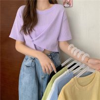 T-shirt Sky blue, white, black, light yellow, fruit green, taro purple Average size Summer 2021 Short sleeve Crew neck Self cultivation have cash less than that is registered in the accounts routine commute cotton 71% (inclusive) - 85% (inclusive) 18-24 years old Korean version 1296X