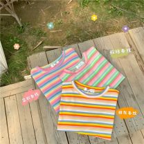 T-shirt Pink green bar, pink blue bar, orange gray bar Average size Summer 2021 Short sleeve Crew neck easy Regular routine commute cotton 71% (inclusive) - 85% (inclusive) 18-24 years old Korean version Color matching 161H