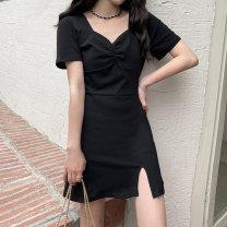 Dress Summer 2021 black Average size Short skirt singleton  Short sleeve commute square neck High waist Solid color Socket 18-24 years old Korean version 6960M 51% (inclusive) - 70% (inclusive) polyester fiber