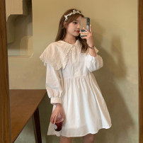 Dress Spring 2021 White, black Average size Short skirt singleton  Long sleeves commute Doll Collar High waist Solid color Others 18-24 years old Korean version 71% (inclusive) - 80% (inclusive) cotton