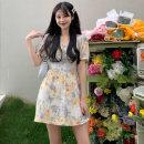 Dress Summer 2021 Cream dress S code, M code, l code Short skirt singleton  Short sleeve commute V-neck High waist Decor Socket puff sleeve 18-24 years old Korean version 3083M 51% (inclusive) - 70% (inclusive) polyester fiber