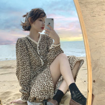 Dress Spring 2021 Black, brown Average size Mid length dress singleton  Long sleeves commute V-neck Loose waist Broken flowers Three buttons A-line skirt routine Others 18-24 years old Type H other Korean version 8777F 51% (inclusive) - 70% (inclusive) cotton