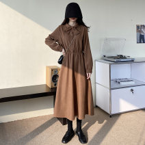 Dress Winter 2020 Black, brown Average size Mid length dress singleton  Long sleeves commute Elastic waist Solid color Big swing 18-24 years old Korean version 51% (inclusive) - 70% (inclusive) polyester fiber
