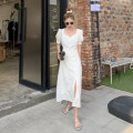 Dress Summer 2021 White, black S, M Mid length dress singleton  Short sleeve commute square neck High waist Solid color zipper other 18-24 years old Type A Simplicity 5813M 51% (inclusive) - 70% (inclusive) polyester fiber