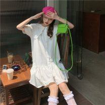 Dress Summer 2021 White, blue Average size Middle-skirt singleton  Short sleeve commute Doll Collar Loose waist Solid color Single breasted Ruffle Skirt puff sleeve 18-24 years old Type A Korean version 8986X 51% (inclusive) - 70% (inclusive) polyester fiber