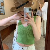 Vest sling Summer 2021 White, green, blue, black Average size singleton  have cash less than that is registered in the accounts Straight cylinder commute straps Solid color 18-24 years old 51% (inclusive) - 70% (inclusive) polyester fiber