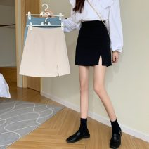 skirt Spring 2021 S,M,L Apricot, blue, black Short skirt commute High waist A-line skirt Solid color Type A 18-24 years old 8235X 71% (inclusive) - 80% (inclusive) polyester fiber Korean version